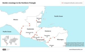 Drugs and migrants move freely across the uncontrolled borders of Guatemala, Honduras and El Salvador. Official checkpoints are often unstaffed, while hundreds of miles of jungle and mountain terrain are completely unmonitored. (source: macpixxel for GIS)