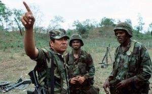 March 1, 1988: a Honduran Second Lieutenant talks with American soldiers from the 82nd Airborne Division during joint exercises in Judicalpa, Honduras (source: dpa)